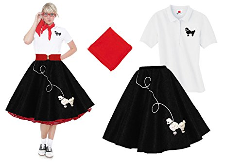 Hip Hop 50s Shop Adult 3 Piece Poodle Skirt Costume Set Black and Red XLarge