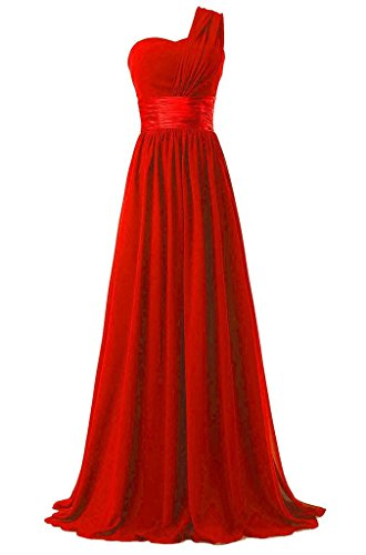 ASBridal Womens Long Sweetheart One Shoulder Formal Party Dress Evening Gown, Red, US18W ()