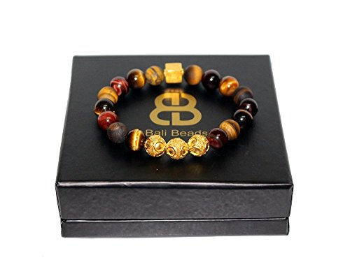 Mixed Tiger's Eye Bracelet, Men's Tiger's Eye and Gold Bracelet, Men's Designer Bracelet by Kartini Studio