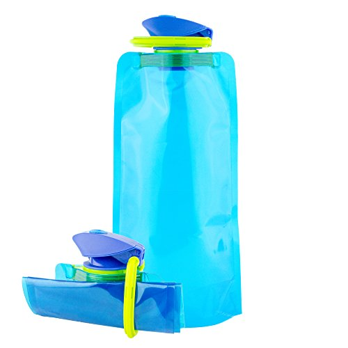 Brand Free Collapsible Water Bottle with Carabiner in Glacier Blue - 24oz BPA Free Travel Water Bottle - Lightweight, Portable, Foldable, Durable, Flat Water Bottle for Hiking, Outdoors, Sports (Water Bottle Free)