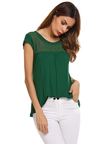 Zeagoo Womens Green Blouse Boat Neck Cap Sleeve Oversized Shirt Going Out Trendy Tops (Green Black Jasper XXL)