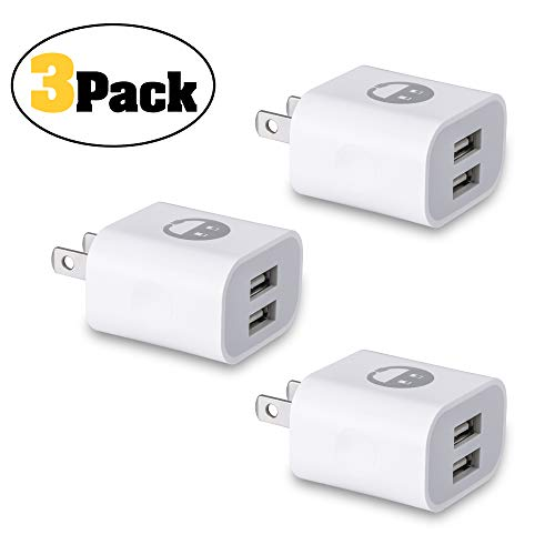 USB Wall Charger, Charger Adapter, SMALLElectric 3-Pack 2.1Amp Dual Port Quick Charger Plug Cube Replacement for iPhone X/8/7/6 Plus/5/5s/5c/XS/XR/XS Max/iPad/iPod,Samsung Galaxy S7/S6/S5 Edge,Kindle