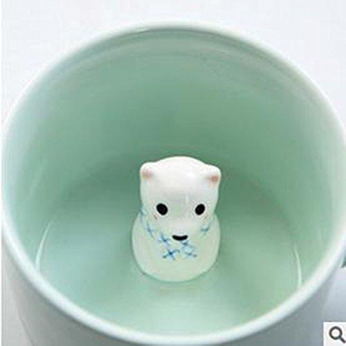 Newest Creative Lifelike 3D Cute Cartoon Miniature Animal Figurine Ceramics Coffee Cup (Polar bear)