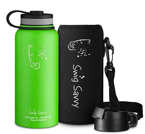 Swig Savvy'Stainless Steel Vacuum Insulated Water Bottle Wide Mouth 32 oz Capacity Double Wall Design 100% Leak & Sweat Proof - Includes water bottles Pouch & Coffee Lid (Light Green)