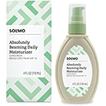 Amazon Brand - Solimo Absolutely Beaming Daily Moisturizer, Broad Spectrum SPF 15 Sunscreen, 4 Fluid Ounce