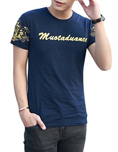 VENTELAN Men's Short Sleeve Korean Fashion Noble Floral Tunic Round Neck T-Shirt