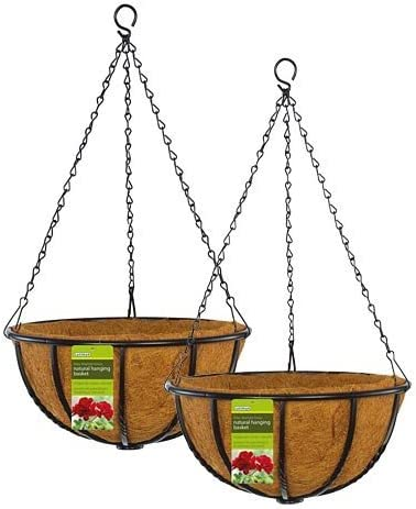 Gardman Blacksmith Hanging Baskets, Black, 18 Dia, Pack of 2