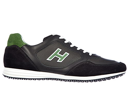 Hogan Herrenschuhe Herren Leder Schuhe Sneakers olympia x h flock h205 Schwarz