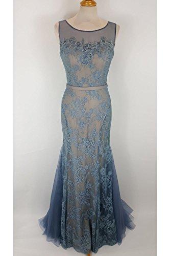 Mascara Steele Blue MC181166 Lace Cape Gown UK 12 (US 8)