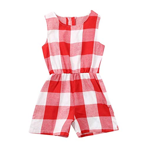 SiQing Mother and Daughter Red Plaid Print Jumpsuit Romper Family Matching Clothes Baby Outfit (3-4 Years, Baby)]()