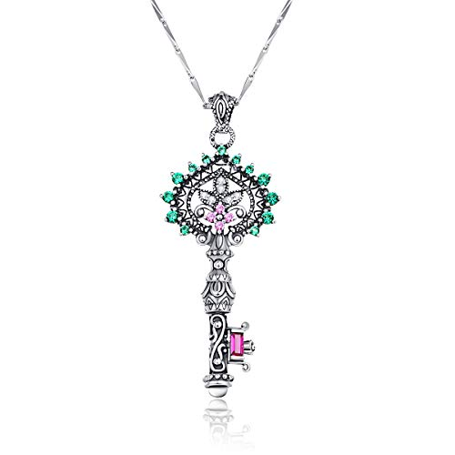 Merthus Antique Style Womens 925 Sterling Silver Key to Heart Charm Pendant Necklace