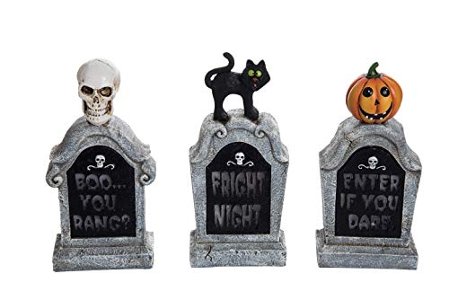 Transpac Imports D0696 Resin Light Up Tombstone Set of 3 Decor Black ()