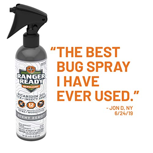 Ranger Ready Insect Repellent with 20% Picaridin Trigger Spray Bottle, Scent Zero, 8 Ounce…