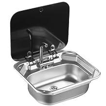 Boat RV Caravan Camper Rectangular Stainless Steel Hand Wash Basin Kitchen Sink with Toughened Glass Lid GR-586