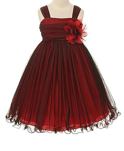 - Kids Dream Little Girls' Special Occasion Double Layer Mesh Dress, 2, Red/Black