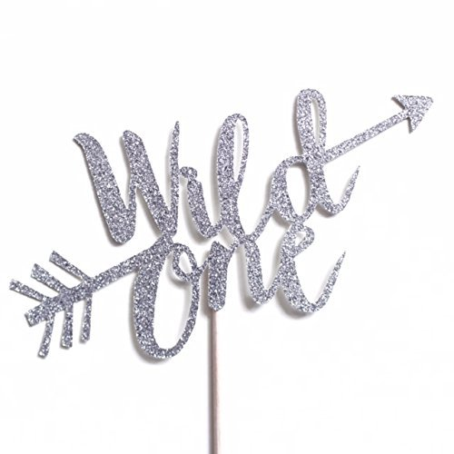 Silver Glitter Wild One Cake Topper, Silver Glitter Boho Tribal First Birthday, 1st Birthday Decorations, Arrows, Boys