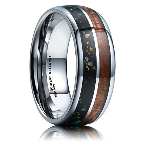 (King Will Nature 8mm Metal Tungsten Carbide Wedding Ring Inlaid with Real Wood & Multicolor Opal Engagement Band 6)