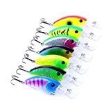 "Hengjia 7pcs/lot Shallow Diving Crankbait Fishing Lures Fresh Water Bass Walleye Crappie Hard Bait Fishing Tackle 9cm/3.54""/11.8g"