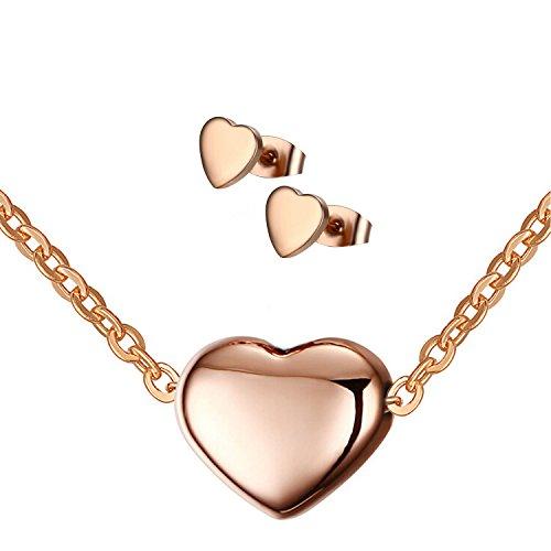 B.Z La Vie Juegos de joyas Collares Pendientes Corazón Acero inoxidable Chapado en oro rosa