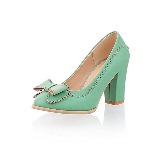 BalaMasa Womens Pull On High Heels Solid Cyan Urethane Pumps Shoes APL00255-10.5 B(M) ()