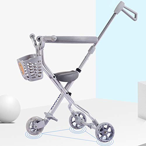 Baby Four-Wheeled Shatter-Resistant Lightweight Folding Children's Trolley Trend Adventure Travel System Range Aviation Aluminum Silver 6.3. (Color : Silver, Size : B) by Bbjinpin (Image #3)