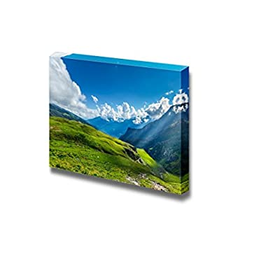 Peaceful Alpine Meadow Mountain Panorama in Himalayas with Sun Rays for Office or - Canvas Art Wall Art - 24