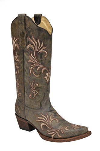 Green Distressed Leather Footwear - Corral Women's Circle G Distressed Green/Beige Filigree Embroidered Western Boot