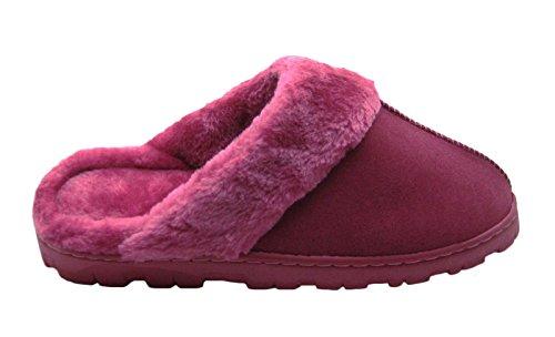 Pantofole Da Donna In Micro-suede Con Polsino In Pelliccia Sintetica E Cuciture Decorative Anteriori A Bacca