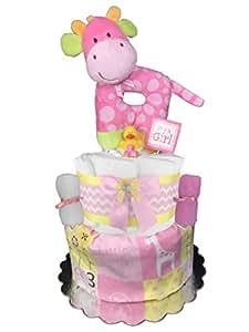 Giraffe Diaper Cake Girl Baby Shower Gift Centerpiece Pink And