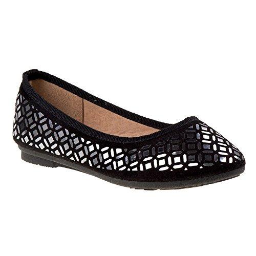 Kensie Fille Filles Noir Metalic Shine Détail Ballerine Robe Chaussures 11-4 Enfants