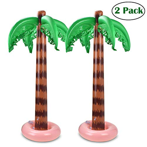 MODOLO 2 Pack Inflatable Palm Trees 90 CM Coconut Trees Beach Backdrop Favor for Tropical Hawaiian Luau Party Decoration -