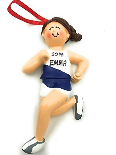 Personalized Brunette Girl Runner Christmas Ornament 2018 Marathon Athlete Jogger Free Personalization (Ornament Runner Christmas)