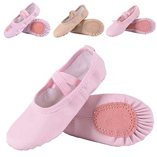 (Leather Ballet Shoes for Girls/Toddlers/Kids, Full Sole Leather Ballet Slippers/Dance Shoes, Pink/Nude (Foot Length:215mm - Little Kid - 3M US, Pink-Leather))