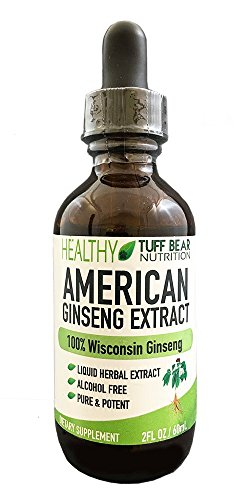 Ginseng Extract Liquid, Alcohol-Free, 2fl oz, BEST American Ginseng Extract Liquid, Made with 100% Natural Pure Herbal Panax American Wisconsin Ginseng Roots Powder by TUFF BEAR