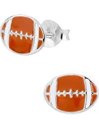 Hypoallergenic Sterling Silver Football Stud Earrings for Kids (Nickel Free)