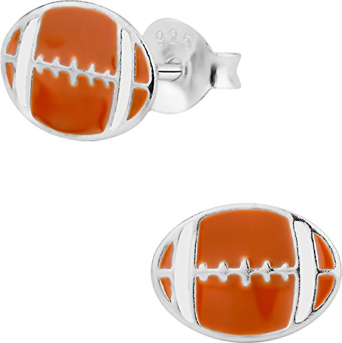 Hypoallergenic Sterling Silver Football Stud Earrings for Kids (Nickel Free)