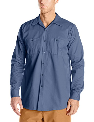 Red Kap Men's Wrinkle-Resistant Cotton Work Shirt, Postman Blue, Small