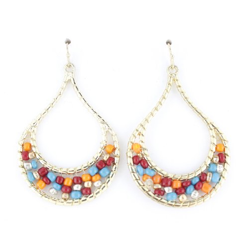 (Pretty Gold-tone Colorful Beads Decorated Tear Drop Earrings)