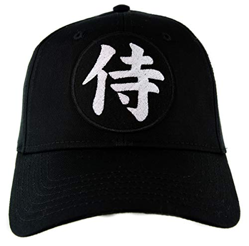 Samurai Japanese Letters Symbol Embroidered Hat Baseball Cap Alternative Japan Warrior Clothing Black