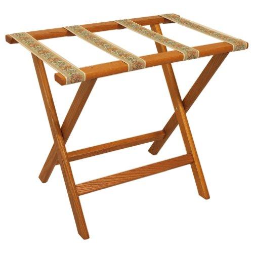 Oak Luggage Rack (Wooden Mallet Deluxe Straight Leg Luggage Rack, Medium Oak, Tapestry Straps)