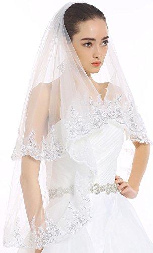 Passat White Filigree Lace and Sequin Applique Two Tier Veil Bridal Veil H80 (Filigree Applique)