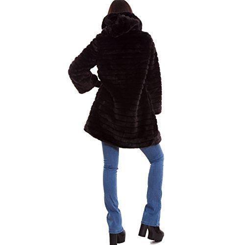 donna cappuccio Pelliccia ecologica 16009 bottone nuova Nero cappotto maniche Toocool lunghe qE6Ba