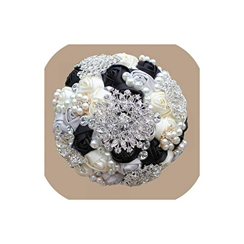 1Piece Bridal Wedding Bouquets Pearls Beaded Crystal Brooch Stitch Wedding Bouquets,Black Ivory Silver
