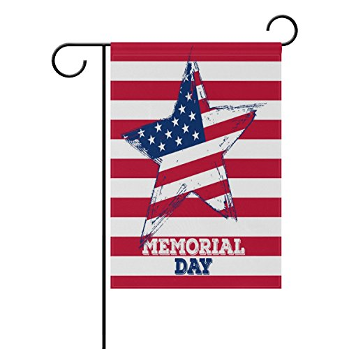ALAZA Memorial Day Garden Flag Vertical Double Sided Print Spring Summer Happy Memorial Day Independence Day Yard Decorative 12 x 18 Inch