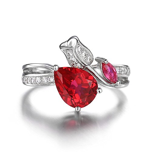 PSRINGS Rings Charms 2.7ct Pigeon Blood Red Ruby Real Pure 925 Sterling Silver Engagement Jewelry 7.0