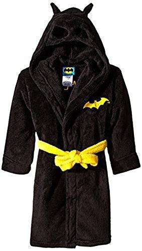 DC Comics Boys' Big Toddler Batman Hooded Robe, Black, X-Small (4/5) ()