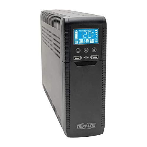 Tripp Lite 1440VA 900W ECO-Friendly UPS Battery Backup, AVR Protection, LCD Display, Line-Interactive, 10 Outlets and 2 USB Charging Ports, 120V, Tel Protection (ECO1500LCD)
