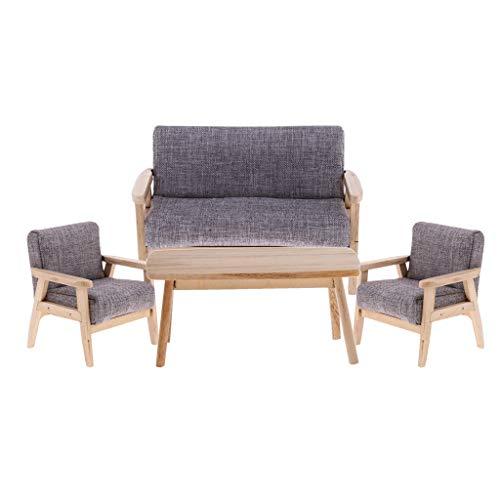 SM SunniMix 1:12 Scale Dollhouse Wooden End Table Sofa 4pcs/Set, for Dolls House Living Room Bedroom Decor