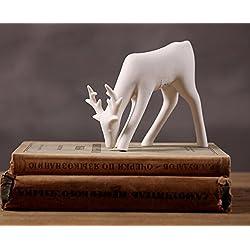 Greencherry Christmas Decor Deer Ceramic Standing Matte White Reindeer Figurine Statue (White 03)