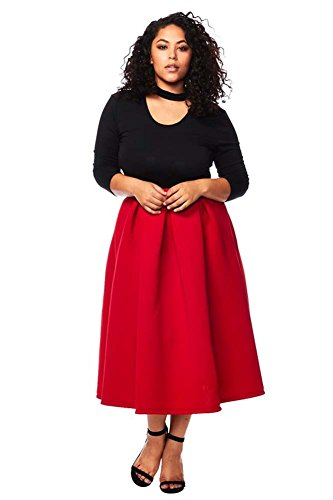 Staand Apparel Women's PLUS MIDI Skater Skirt - Red 2XL